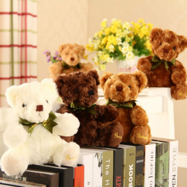 Cute Little Teddy Bear Stuffed Dolls Wedding Throws Kawaii Animal Doll Decorate The Room Birthday Present Toys for Girls 20cm