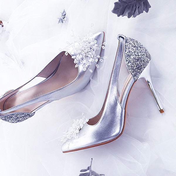 Wedding Shoes Women Summer High Heeled Fine Heeled Sandals Silver Point Bridesmaid Shoes Sequined Shoes Lady Pumps Sandals Cheap Shoes Wedge Sneakers