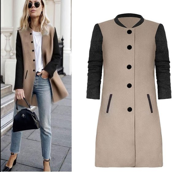 2018 autumn and winter Europe and the United States ladies fashion long Slim solid color coat for ladies