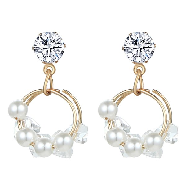Korean Hot Sale Pearl Earring Crystal Dangle Drop Earrings For Women Luxury Rhinestone Earings Fashion Jewelry Brincos Oorbellen