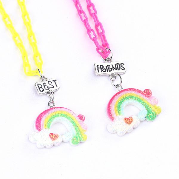 Best Friends BFF Rainbow Cloud Colgante Chica Gargantillas Collares 2pcs / lot