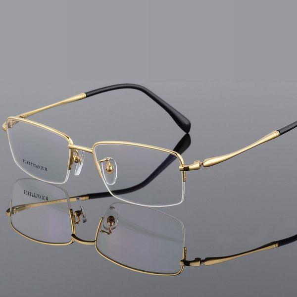 100% Pure Titanium Demi Jante Marque Lunettes Hommes Optique Spectacle Cadre Oeil Lunettes De Prescription Lunettes Gros Visage Qualité