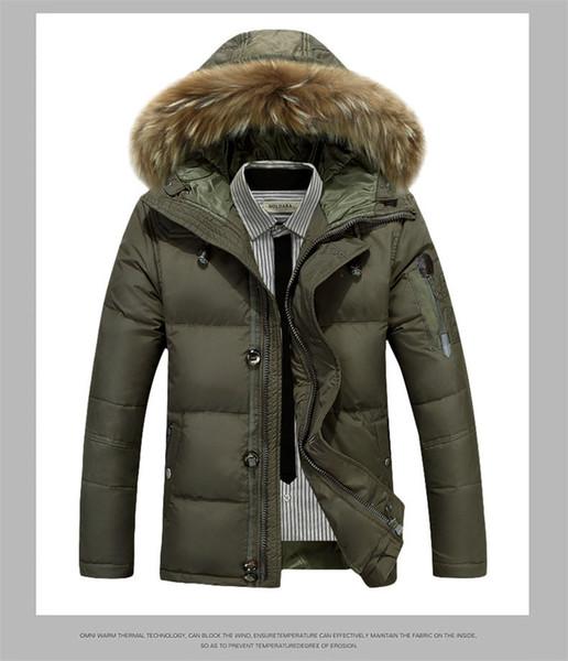 Mens Winter Coat Fashion Thick Solid Color Zipper Down Designer Mens Hooded Parkas
