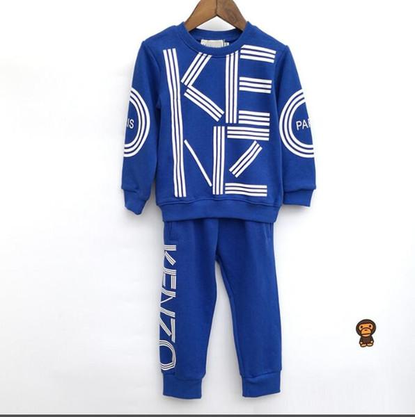 New classic Luxury Designer Baby t-shirt jacket Pants Two-piec 2-7 years olde Suit Kids fashion Children's 2pcs Cotton Clothing Sets