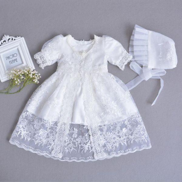3 PCs por Conjunto Baby Girl Batismo Vestido Branco Infantil Menina Batismo Vestido de Renda Bordado Cape Hat 0-24Months