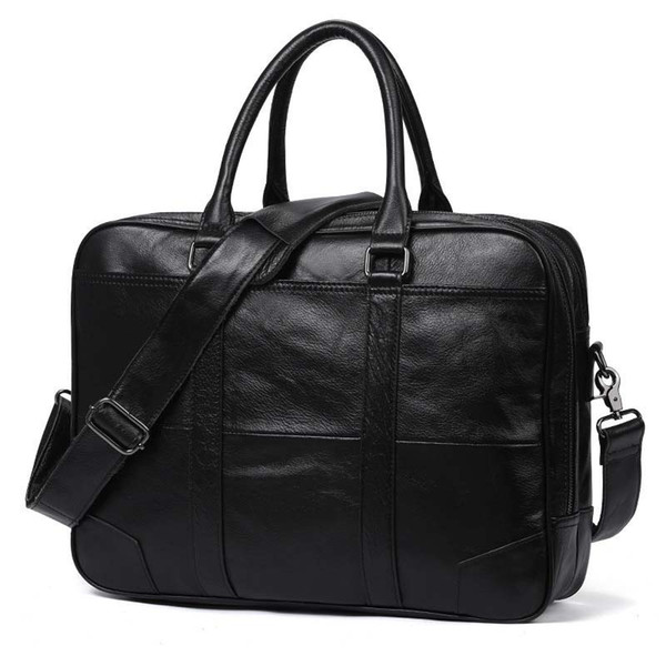 Briefcase Genuine Leather Male Shoulder Cross-body Laptop Business Bag for Men 15 inches laptop Tote bag Cow leather business