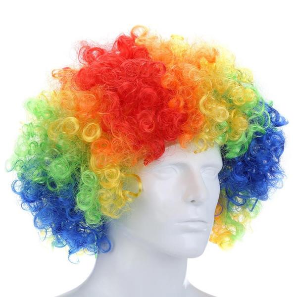 Curly Afro Perruques Multi-couleur Party Clown Funky Disco pour Hommes Femmes Déguisements Déguisements Stade Do Fun Joker Costume Enfant Adulte Afro Bouclés