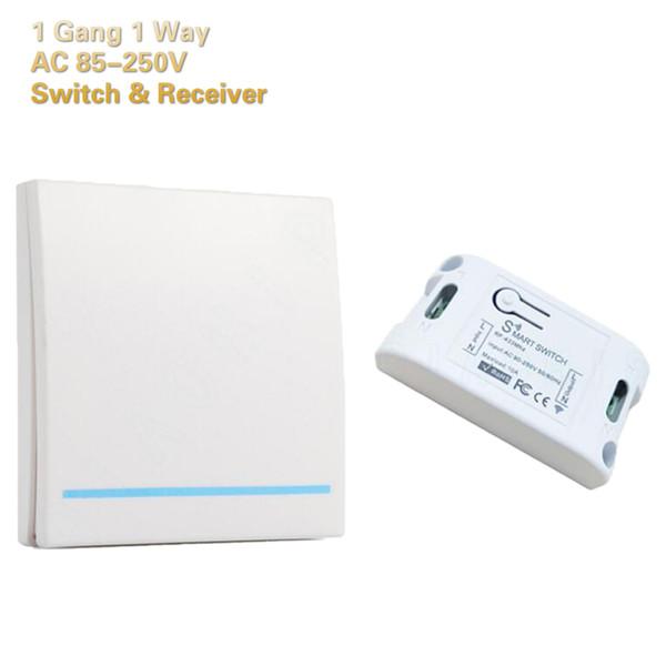 Interruptor de Controle Remoto sem fio Inteligente Início Painel de Controle 1 Gang 1 Way Receptor de Controle Pode Ser Montado Na Parede AC 85 V-220 V Global Universal