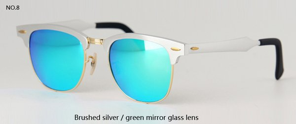 brushed silver w green mirror