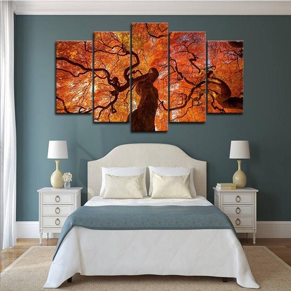 5pcs Maple Tree Canopy Red Leaves Wall Art HD Print Canvas Painting Fashion Hanging Pictures Living Room Decor1