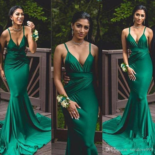 2018 Deep V Neck Long Evening Party Gowns Dark Green Prom Dresses Ruffles Satin Spaghetti Straps Sweep Train Cheap Festa De Festa