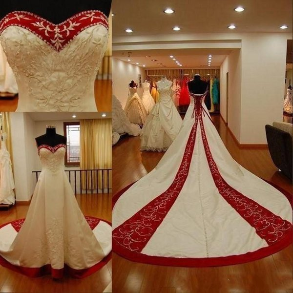 2019 Traditional White And Red Wedding Dresses A Line Hand Made Embroidery Sweetheart Bridal Gowns Chapel Train Wedding Dress Back Lace Up