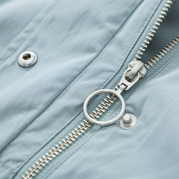 Rüzgarlık Kadın Sonbahar Yeni Kapüşonlu Bf Tarzı Öğrenci Yama Işlemeli Bel Uzun Moda Ceket Kızlar Için