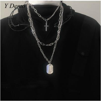 2019 Unisex Punk Retro Crossing Chain Necklace Couple Fashion Streetwear Harajuku Stainless Steel Pendant Necklaces Link Chain