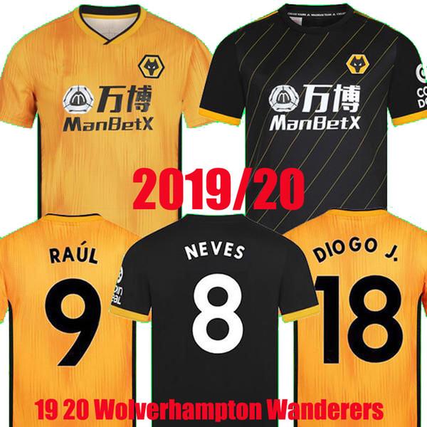 19 20 camiseta de fútbol de lobos Wolverhampt RAUL NEVES 2019 2020 Wolverhampton Camiseta de fútbol Wanderers Doherty DIOGO J. uniformes hombres + kit de niños