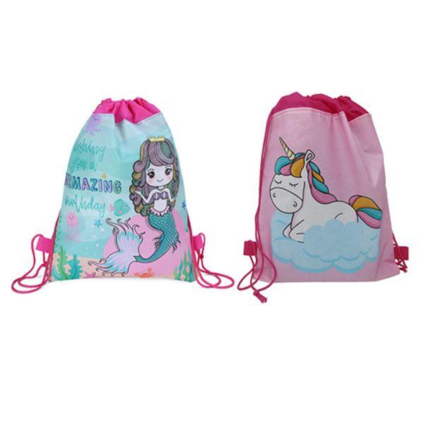 Unicornio Mermaid Drawstring Bag Niños Mochila de Dibujos Animados Deportes Mochila de Hombro Bolsa de Almacenamiento de Viaje Al Aire Libre Bolsillo Regalo de la Fiesta A342