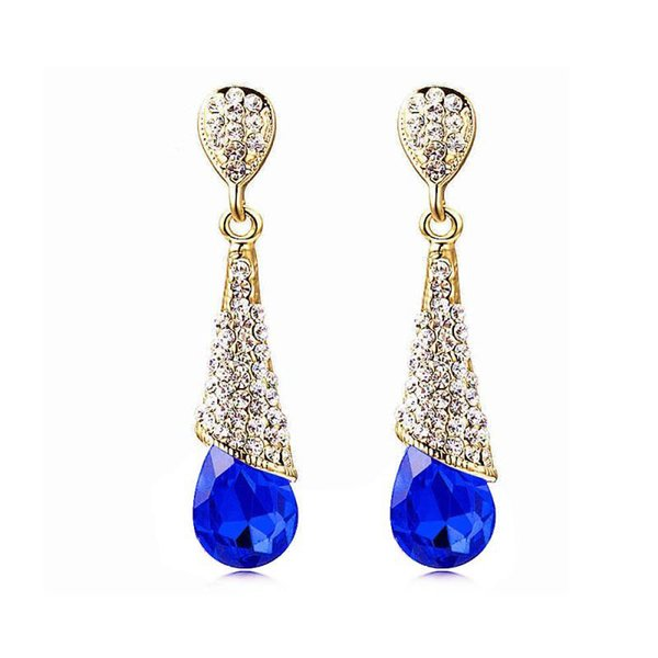 Women's Water drop Chandelier fashion Crystal Dangle Earrings Cubic Zirconia Drop Ear-clip For women drop earrings