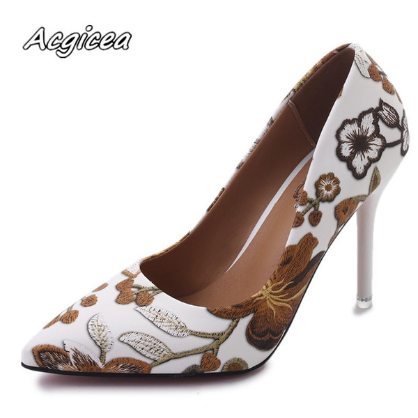 Designer Dress Shoes Woman Fashion Leaves Printing Ladies Sexy Stiletto Female Floral Thin Women High Heels Party Dress Pumps f126