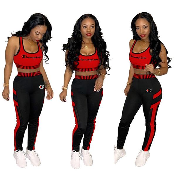 Women Champion Letters Embroidery Tracksuits Fitness Suspender Crop Tank Tops Trousers 2piece Sport Suit Camis Vest Pants Jogging Set A42906