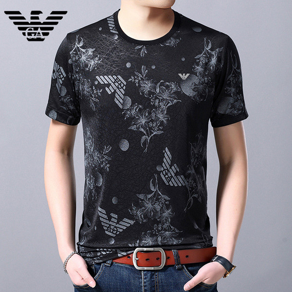 Fashion Print T-shirt Short-sleeved Round Neck Silk T-shirt Outdoor Youth Slim Breathable Designer T-shirt Free Shipping