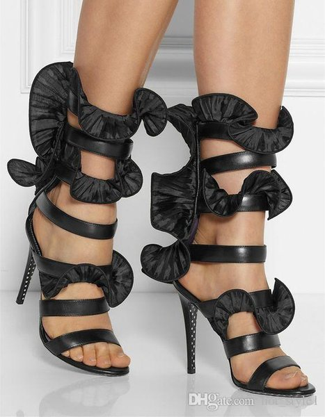 Classical Woman Summer Black Sexy Super High Heel Leather Sandals Lady Satin Lotus Lace Dance Shoes Femal T-Show High Heels Sexy Sandals