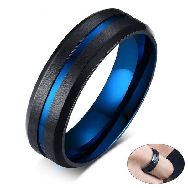 Unique Thin Blue Line Mens Ring Matte Finished Stainless Steel anillo masculino Gentleman Gifts Accessories