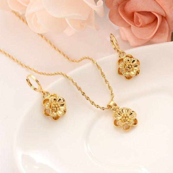 2019 Women Jewelry Set Cute 18 K Solid Gold Gf Rose Pendant Flower