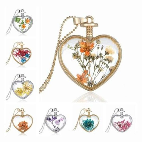 Colorful Decorative Dried Flowers Necklace 21 Color Pendant Natural Dry Flower Plants Jewelry Heart Metal Glass Necklace Nice Gift