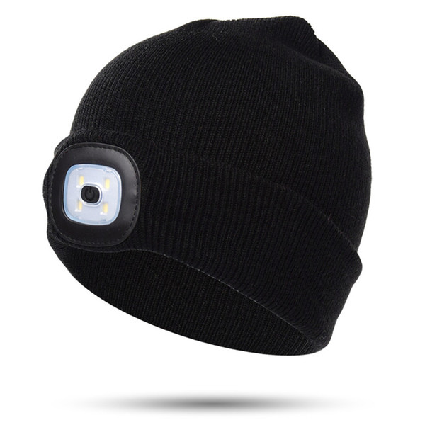 Kinder LED Mützen Winter Hüte Warmer Beanie Angeln Radfahren Nacht Outdoor Sport Acryl Strickmützen