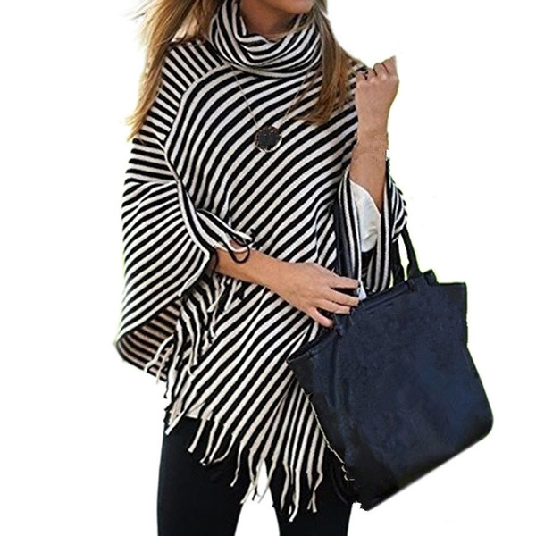 Striped Scarf High Collar Pashmina For Women Tassel Ponchos Warm Scarves Top Casual Winter Shawl Capes