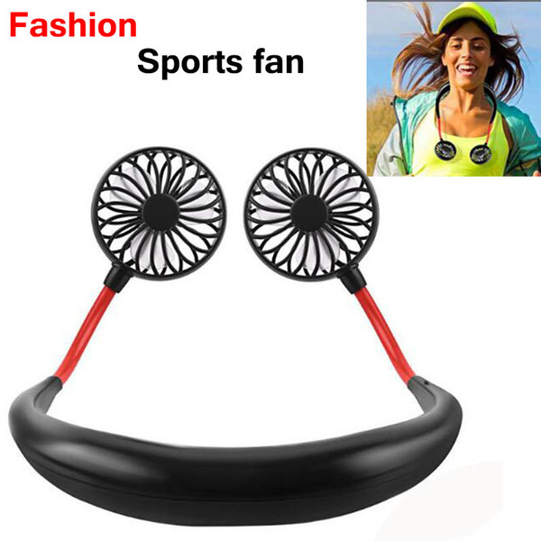best selling Mini Sports fan USB Portable Fan Hands-free Neck Hanging USB Charging Mini Portable fans 3 gears Usb Air Conditioner