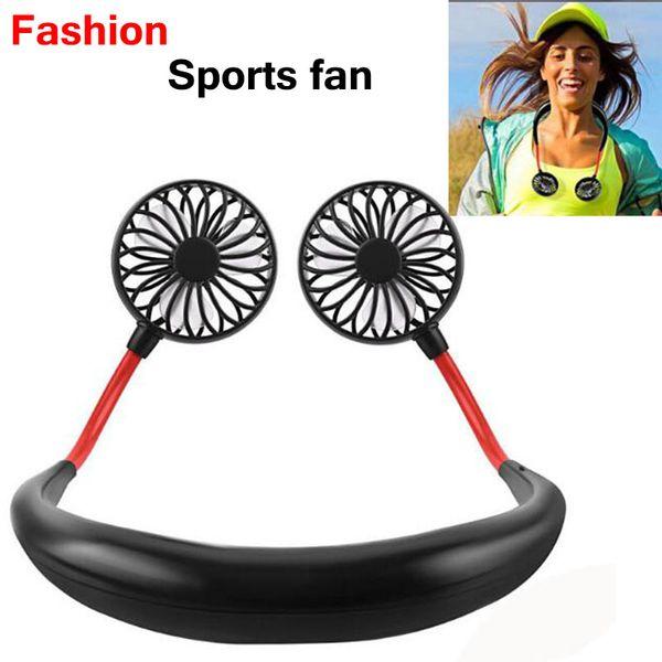 top popular Mini Sports fan USB Portable Fan Hands-free Neck Hanging USB Charging Mini Portable fans 3 gears Usb Air Conditioner 2021