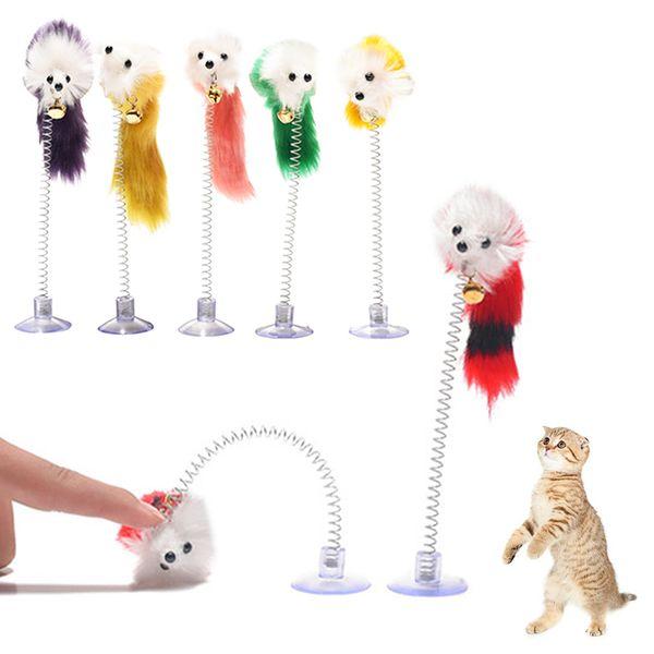 Color aleatorio Plástico Gato Juguetes Pluma Divertido Gato Ratones Forma 20 x 10 cm Falso Ratón Productos para mascotas Bottom Sucker Elástico