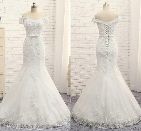 2019 Off spalla sirena abiti da sposa perline di cristallo paillettes applique pizzo abito da sposa abiti da sposa immagine reale su misura nave veloce