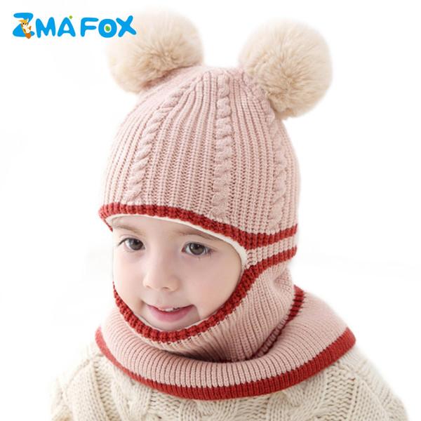 ZMAFOX 2019 baby winter hat kids Balaclava hood hats children mask hooded caps fur pompom spring velvet knitted beanie cap scarf