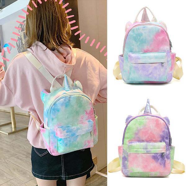 Pullu unicorn sırt çantası 3 renkler karikatür Açık spor renkli sırt çantası seyahat okul şeyler çantası öğrenci kız saklama poşetleri JY706