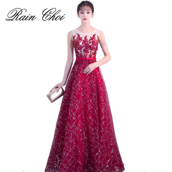 Vestidos de Fiesta Bir çizgi Örgün Akşam Gwon O Boyun Uzun Gelinlik Modelleri 2019