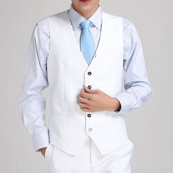 Men Suit Vest Formal Dress Business Solid Slim Fit V Neck Sleeveless Waistcoat high quality custom cheap formal business vest