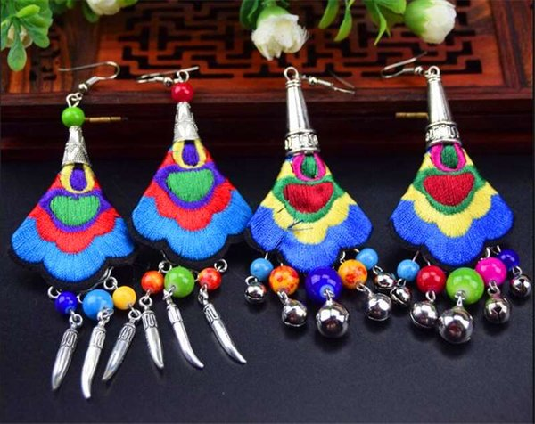 New Yunnan ethnic earrings handmade imitation seedlings silver wild embroidery earrings jewelry wholesale