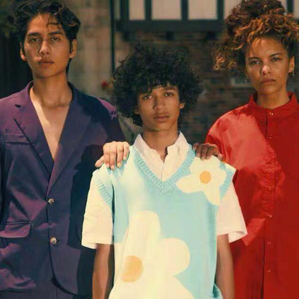 19FW Luxury European Printed Sweater Vest Retro High Street Fashion High Quality Vest Couples Women Men's Designer Sweater HFYYWT015