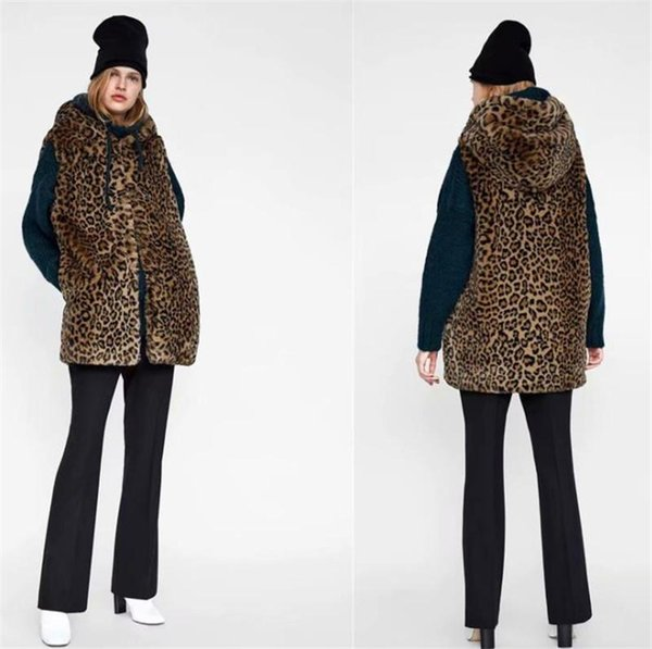 Women Thickend Leopard Vests Fashion Hooded Slim Warm Wollen Medium Waistcoat Casual Women Designer Winter Coats