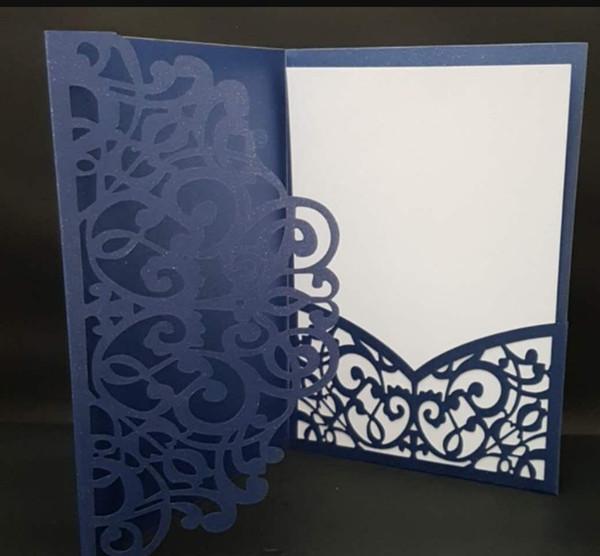 Free Drop Shipping Sample Hollow Laser Cutting Tri Fold Tiffany Gold Dark Navy Blue Gray Pocket Wedding Invitation Card Invite Business Holiday