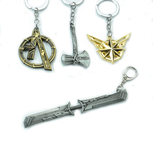 Avengers Keychain Thanos Captain Marvel Thor Keychain Retro Weapon Key Chain Key Rings Fans Collectioin Drop Ship 340124