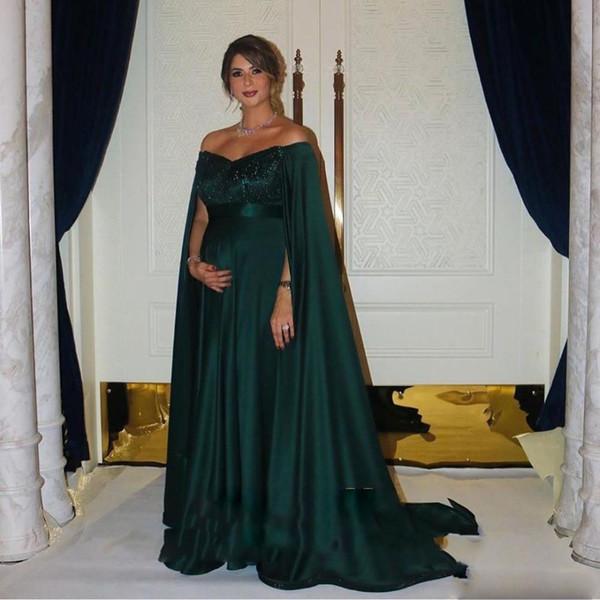 robes de soirée africanos verde escuro Cetim Prom Dresses com Cabo elegante Longo Formal vestidos de noite árabe vestido de festa vestido de festa