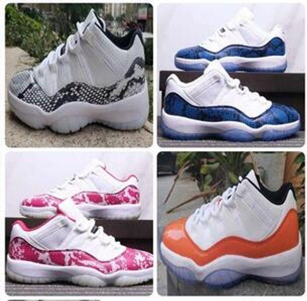 С коробкой 11 низкая темно-синяя змеиная кожа оранжевый Транс мужская баскетбольная обувь 11s низкая WMNS розовый змеиная кожа спортивные кроссовки загрузки бесплатная доставка