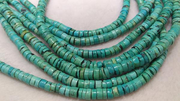 Pierre turquoise naturelle de 6-10mm, tranche de pépite plate rugueuse, roue de heishi, collier de perles et de pierres précieuses, stand complet, 16