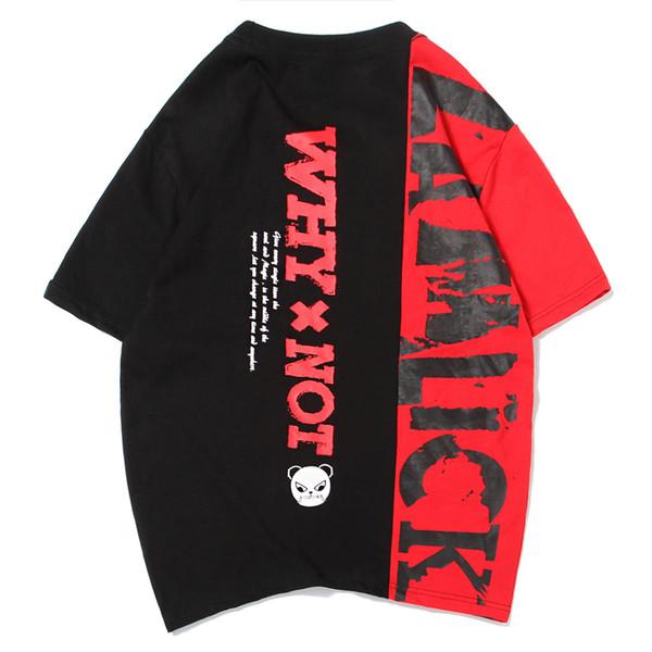 Été nouvelles lettres de couleur imprimées marée à manches courtes hommes et femmes T-shirt à manches courtes en vrac grande taille demi-manche