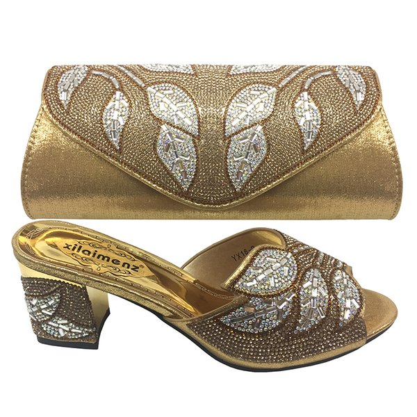 New Arrival Gold Color African Matching Shoes and Bags Italian In Women Party Shoes and Bag Sets African Shoes and Bag Sets Z002