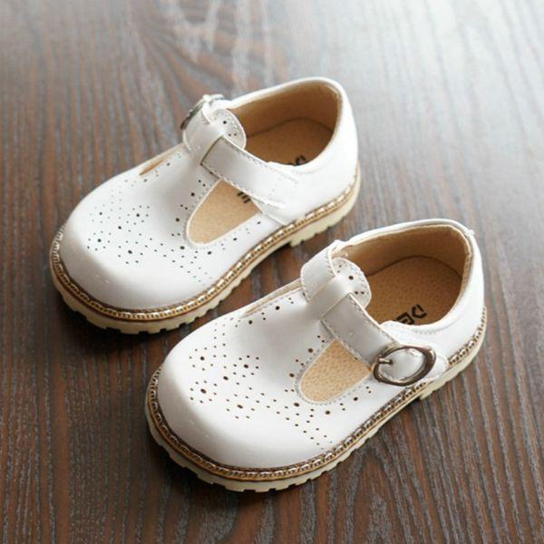 Zapatos de cuero para bebés estilo recortado Princess Flats Broque Shoes Hollow Kids White Pink Shoes Mocasines