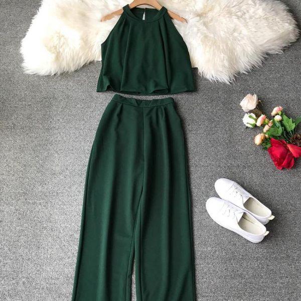Fashion Holder Shirts Crop Top + Lose Nine -length Pants Suits Women Two Pieces Set 2019 Mrs Summer 2 Pcs Set Conjunto Feminino Y19071301